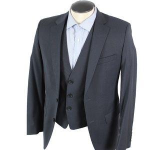 Hugo Boss 3 piece wool suit navy & pin stripes 36R